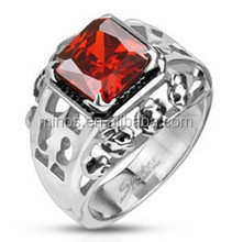 Delicate Design Stainless Steel Comfort-fit Ring With Deep Red Gem Stone