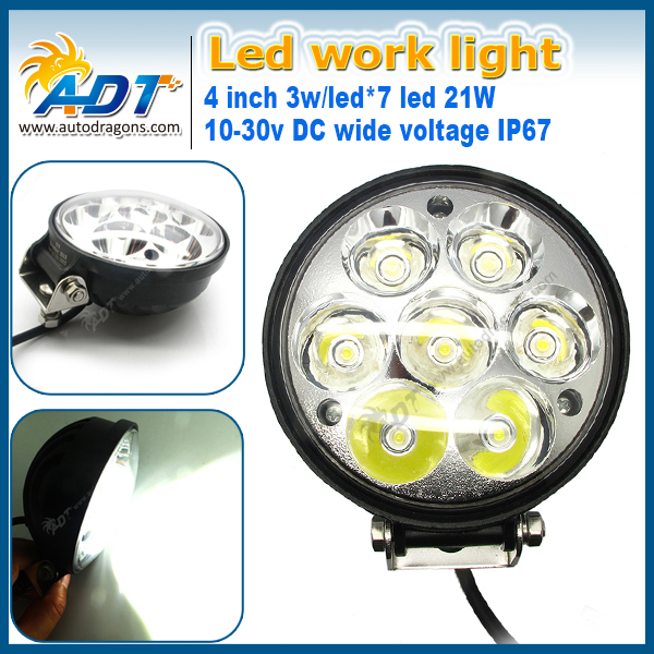 Depo auto lamp 21W 4inch Round DC10-30V IP67 waterproof led works lamp
