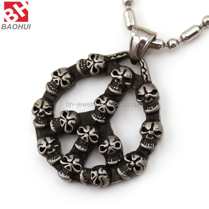 316L Stainless Steel Circle Man Skull Pendant Hip Hop Jewelry
