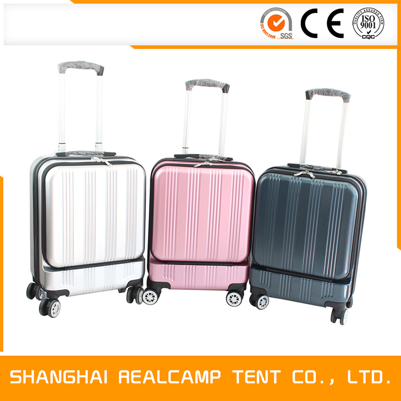 Front Opening Pocket PC Luggage With Shinning Surface Hard Shell Unique Travel Trolley Suitcase