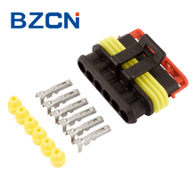 6 pin female waterproof automotive electrical connector with terminals and seals
