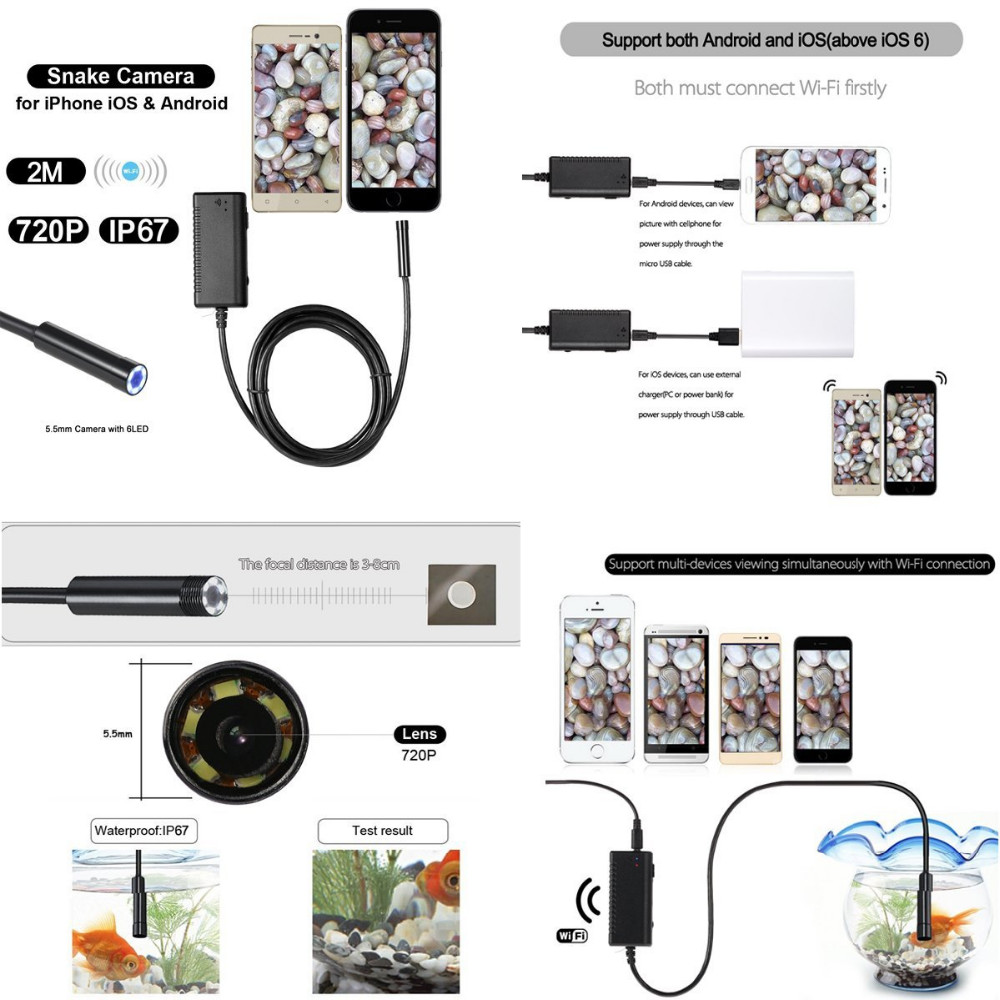 Wireless Endoscope HD 9mm Waterproof WIFI Snake Camera Video Inspection Borescope for all System Above Android 4.4 and iOS PQ104
