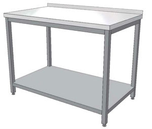 Stainless steel table with shelves