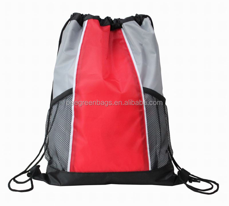 Factory directly supply promotional cinch bag mesh draw string bag with logo print