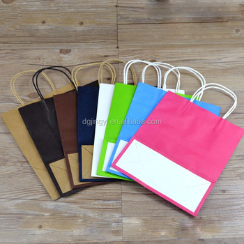 Colorful printed kraft paper shopping bags wholesale in China with Kraft handle