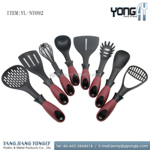 8-pcs nylon kitchen household cooking utensil set with rotating stand