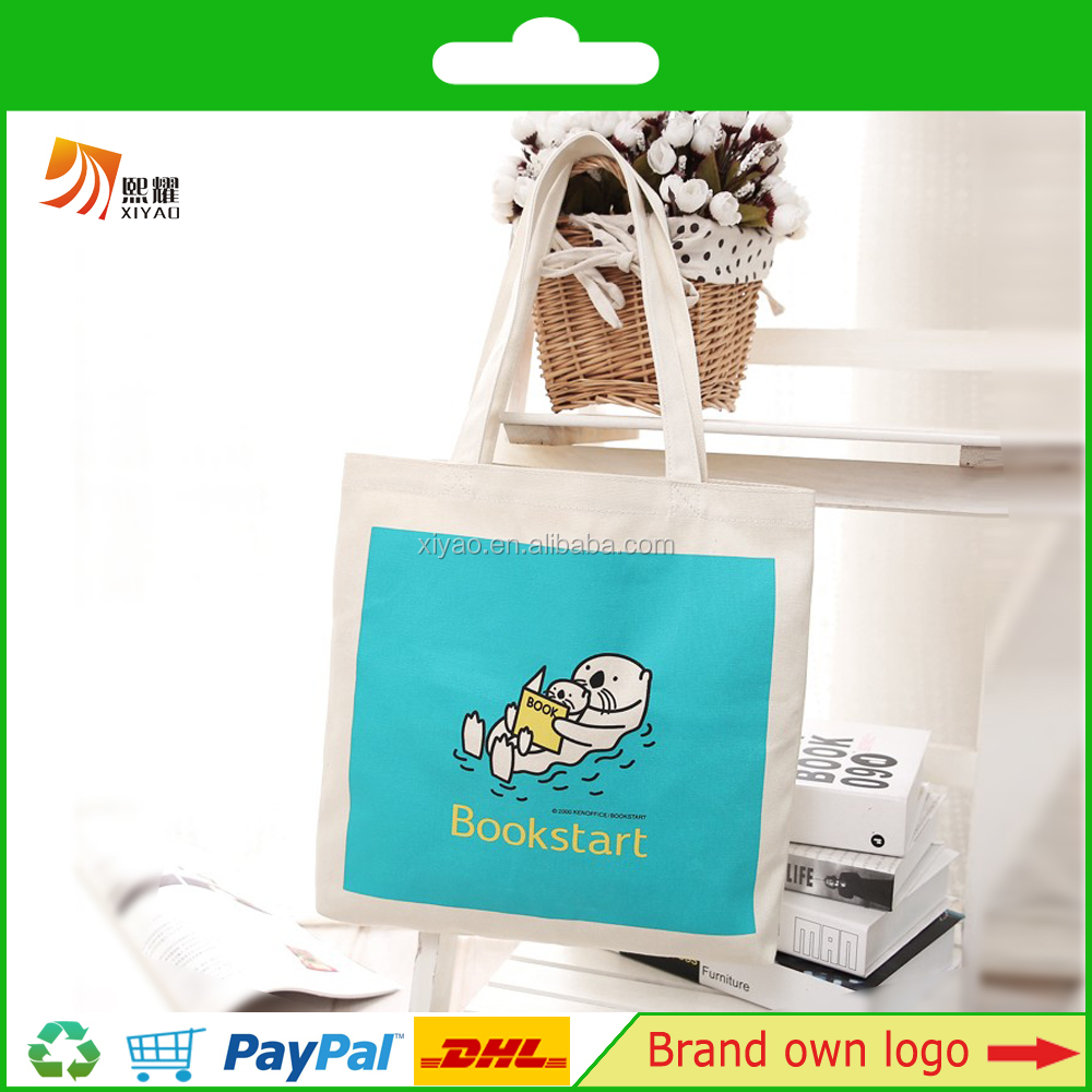 full printing standard size cotton canvas bag jumbo tote