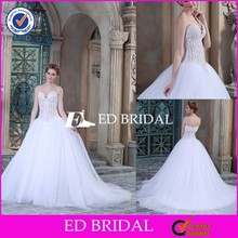 CE1470 Wholesale Elegant Sweetheart See Through Corset Beaded Wedding Dress Patterns