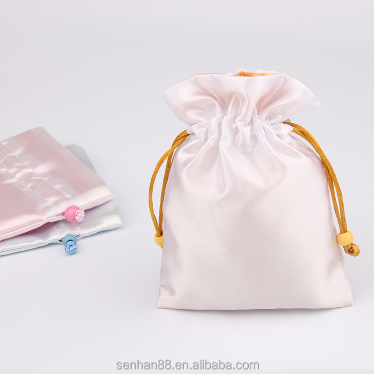 Hot selling OEM satin pouch drawstring bag for hair