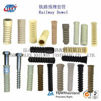 HDPE Concrete Insert Dowel Factory, Railway Plastic Dowel for Spike screw, HDPE Black Fastening Concrete Threaded Dowel