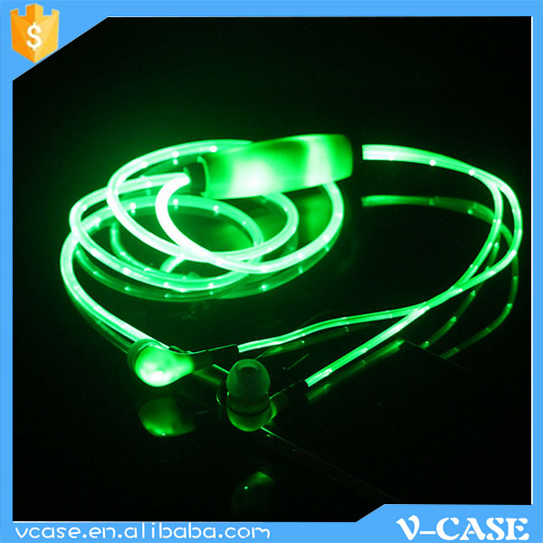 Newest cable flashing LED light earphone / LED headphone with 10mm speaker PVC cable, 3.5mm plug directly sales form factory