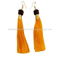 Indian Woman Wear Yellow Thread Fringe Dangle Earring Bollywood Fashion Jewelry