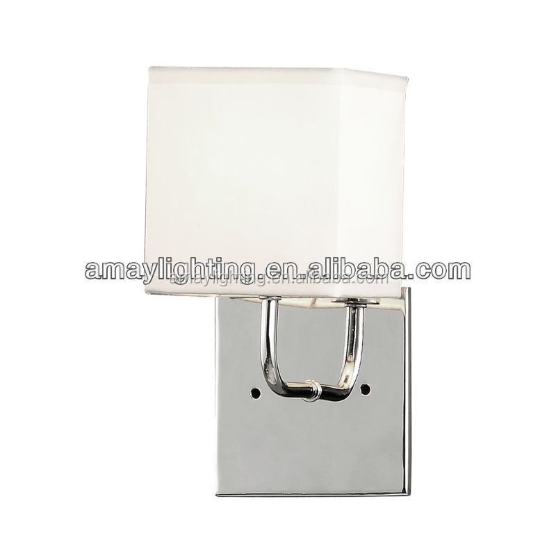 wrought iron chrome wall lamp with white fabric shade