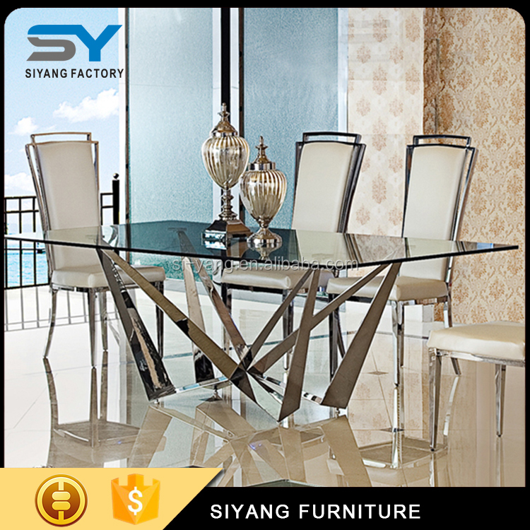 Foshan top furniture glass dining table mirror dinning table for wedding CT017