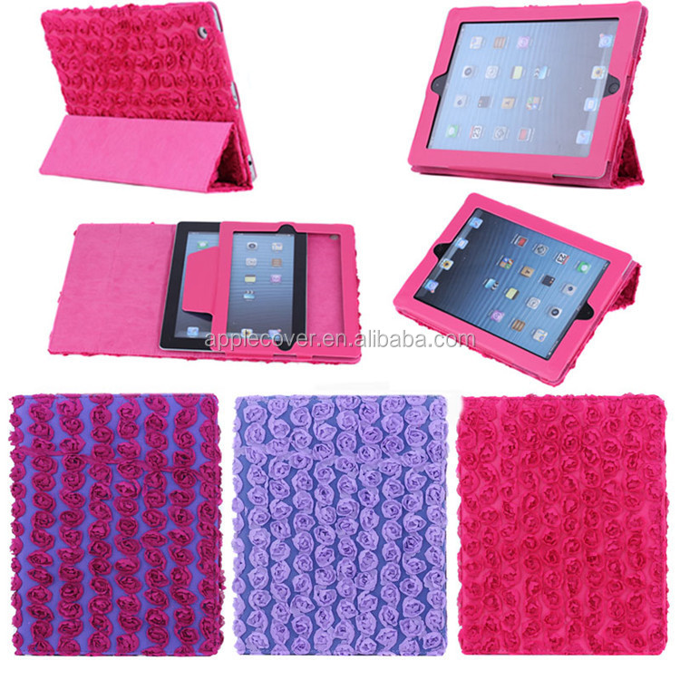 Colorful flower case for ipad 2/3/4,for ipad 2 case with pu leather