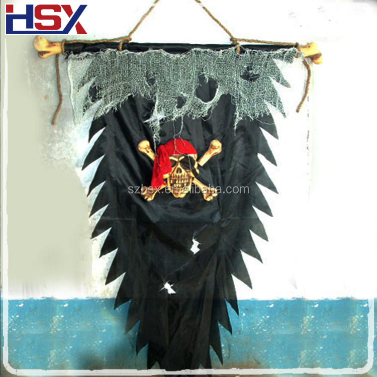 Hot Sale 140CM Height Halloween Skull Flag Outdoor Decor