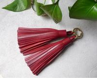 double strip fashionable genuin leather tassel for bag pendant/cellphone pendant/ key pendant