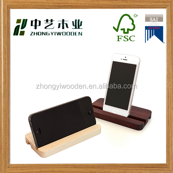 Fashion classic cheap custom factory supply lovely wooden mobile phone stand holder