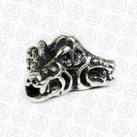 Popular Male Charm Jewelry Solid Silver Three Wolfs Charm Wholesale