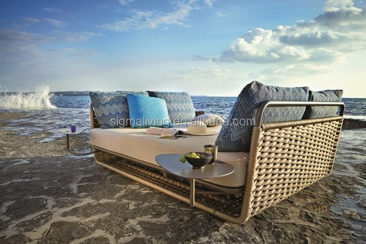 New design nice poolside furniture large sun lounger rope chaise lounge