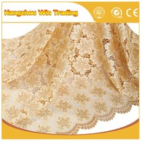 Gold wedding material european african lace fabrics cord for girls party dresses