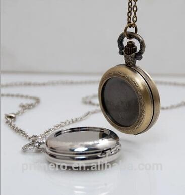 Antiqu Bronze/Silver Polish Quartz Men Pocket Watch Necklace Bolso Gift DIY