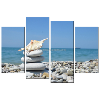 Beach Scenery Canvas Printing/Seascape Paintings on Canvas/ Home and Office Canvas Wall Art Decor 4Pcs