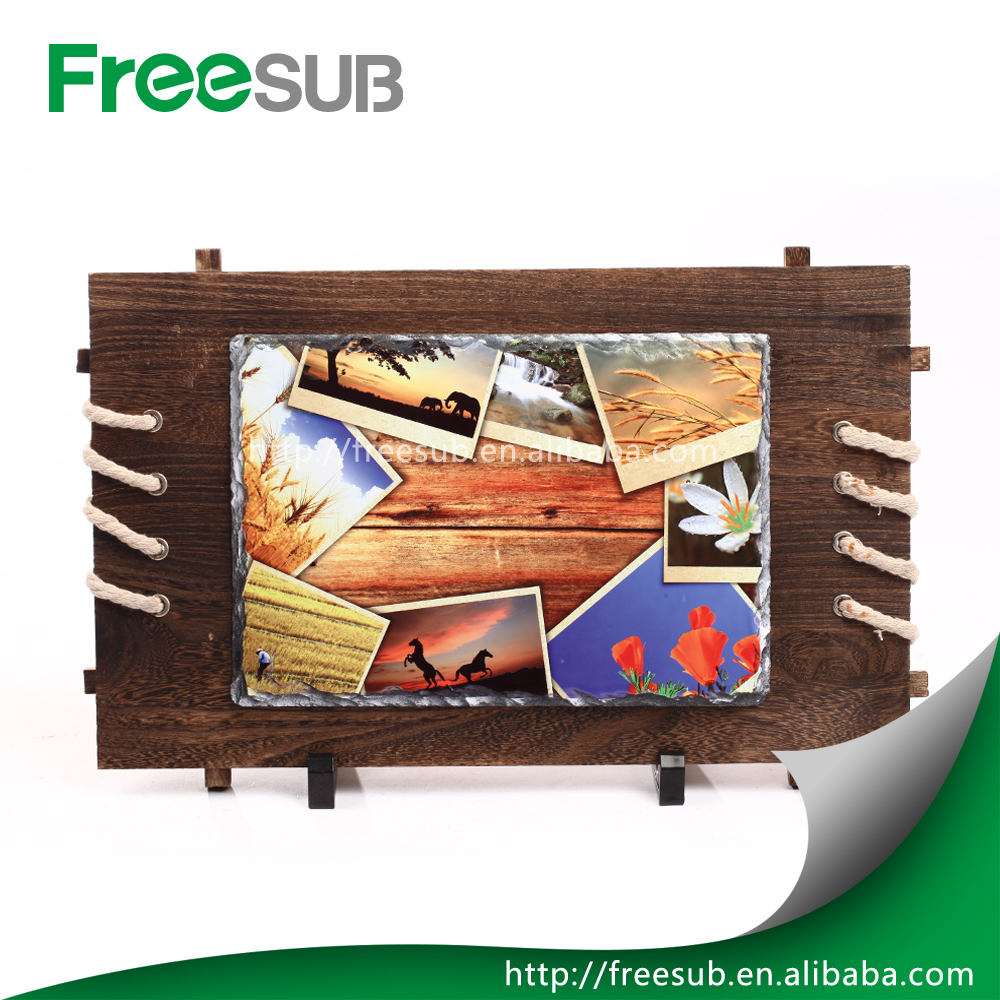 Sunmeta Antiqued wooden Frame with Rock Photo For Creative Christmas Gift