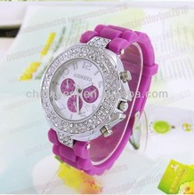 new 2013 Geneva Classic Gel Crystal Stone Women/Men/Girl/Boy Quartz Silicone Wrist Watch ladies watches top brand