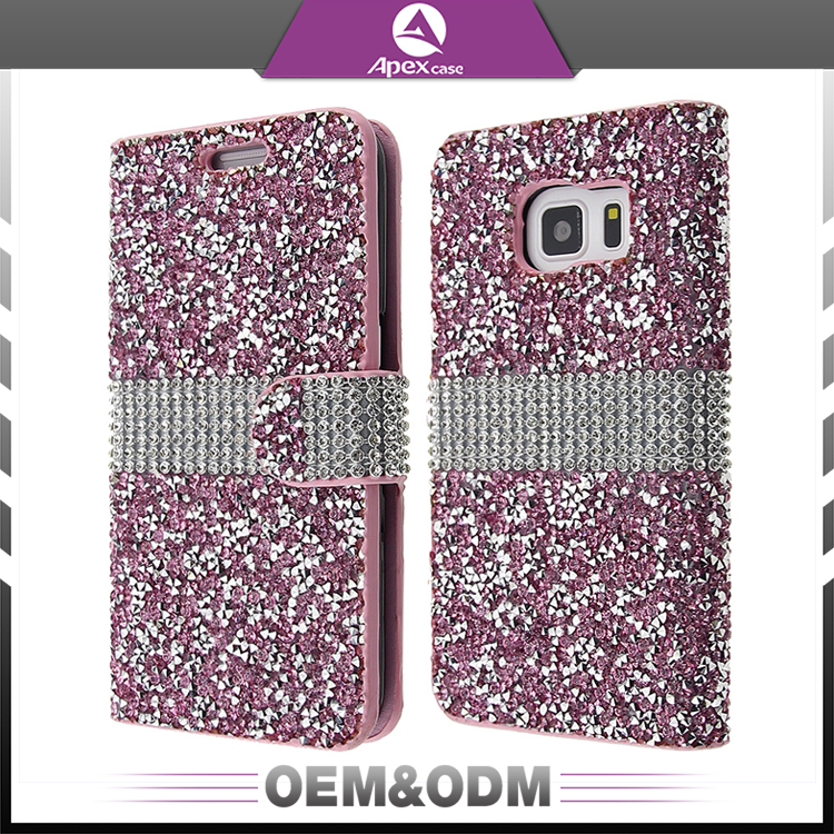 Diamond Bling Bling Leather phone book Case for iphone anti-gravity phone cover