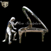 Garden or Outdoor Abstract Stainless Steel Playing Piano Lady Sculpture