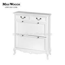 MW Home antique french shabby chic living room pine wood white painted 2 drawers shoe storage cabinet solid wood shoe cabinet