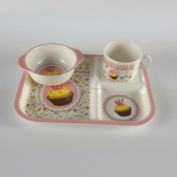 Children Melamine Dinner Set/Kids Tableware Set Melamine Bowl,Tray,Cup and Spoon Dinnerware Set