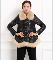 women's oversize genuine sheepskin leather down coat with fox fur collar and winter leather jacket for girls