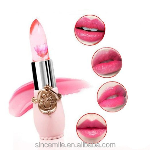Transparent flower jelly lipstick color changing lipstick with flower inside make your own brand