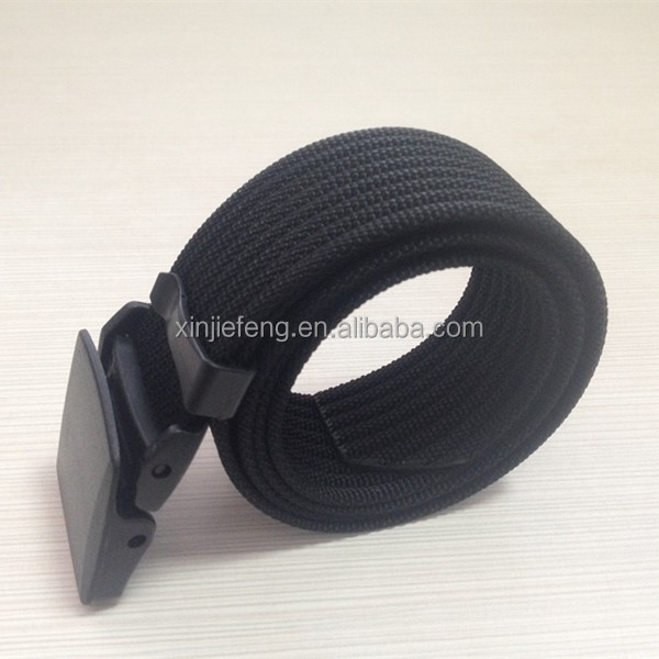 black nylon military belt with plastic buckle