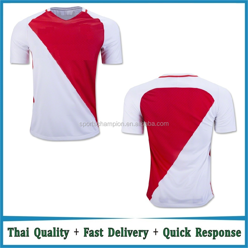 Wholesale Top Thai Quality Cheap 16-17 White Red Soccer Jersey