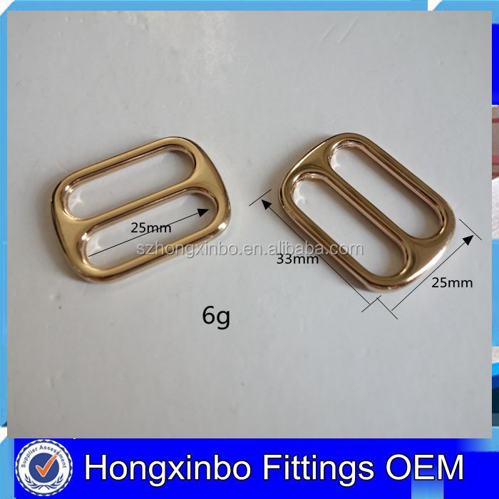 Hongxinbo fittings metal side release slider 25mm adjuster buckles for bags