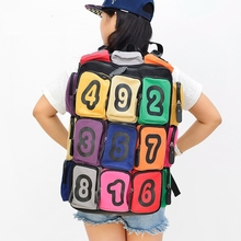 Number Decor 18 pieces Multicolour Pocket Teenagers Casual Soft Canvas Travel Backpack