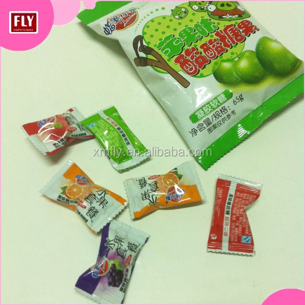 Flow Wrap Halal Custom Fruit Candy Gummy Apple Shaped Sweets