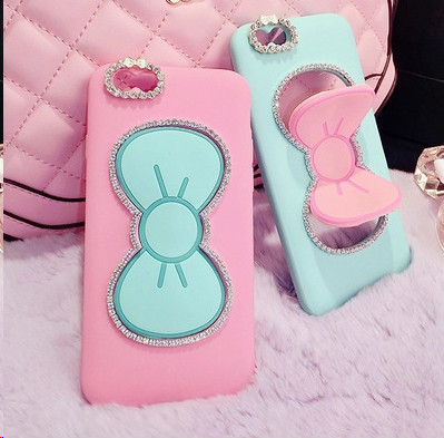 Stand Case wholesale for iphone 6 silicone case mix color for ladies