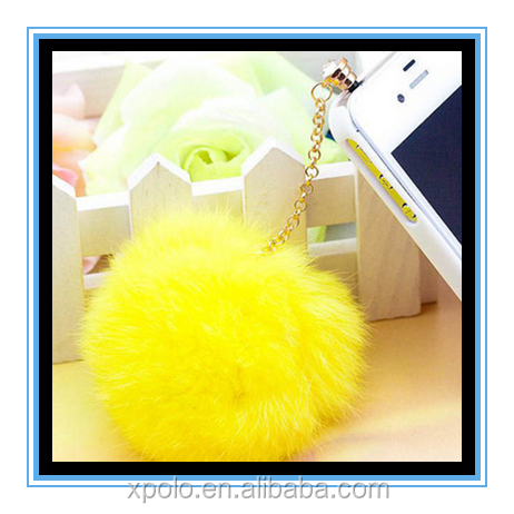 Factory Price multicolor Cute Rabbit Hair Fur Ball Dust Plug Phone Accessories Charm