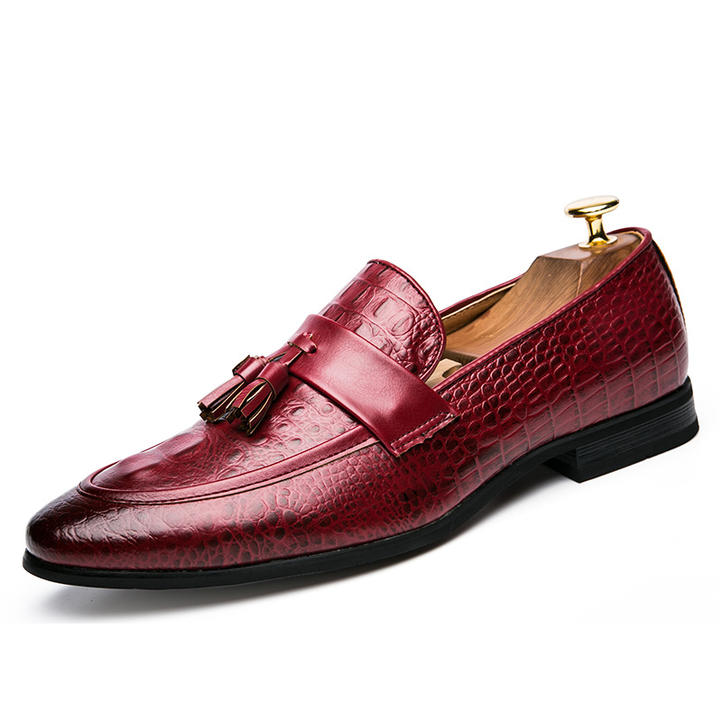 men winter italian fashion snake skin brogue leather oxford tassel slip on pointed toe shoes designer male formal cool footwear  (2)