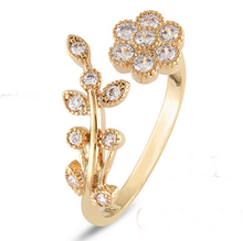 China wholesale cute nice flower ajustable finger ring for women fashion jewelry for girls