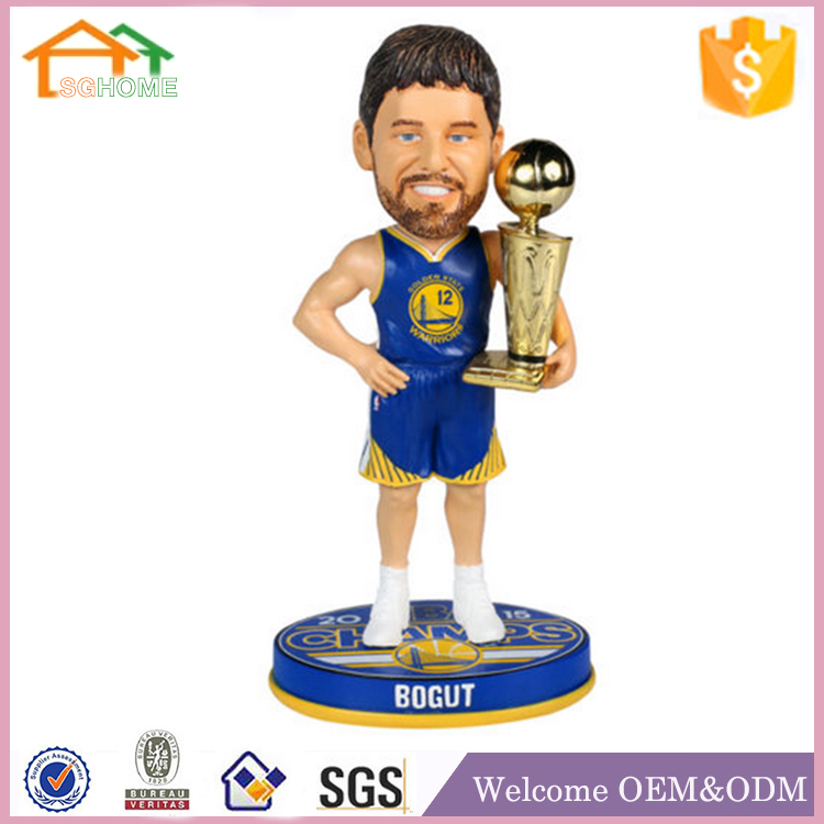 Factory Custom made home decoration polyresin bobble head golden state warriors