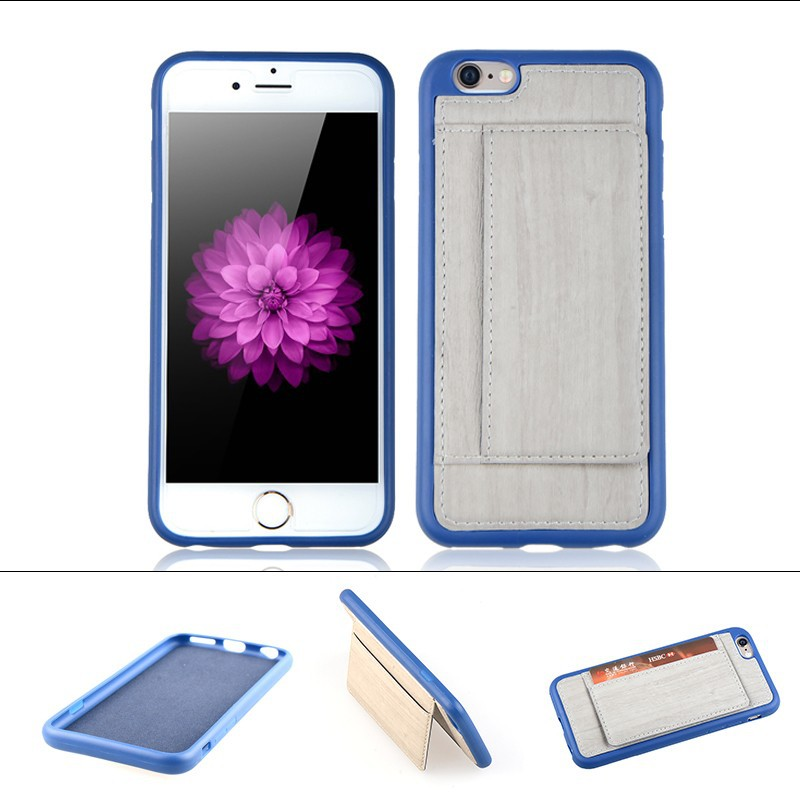New arrival pu cover case for iphone 6 pocket plus case stand case