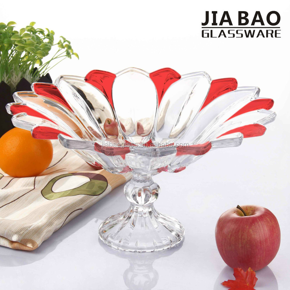 Elegant clear glass fruit plate with flower design colored glass plates with stem