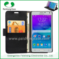 Wholesale free shipping lychee pattern leather wallet waterproof case for samsung galaxy note 4