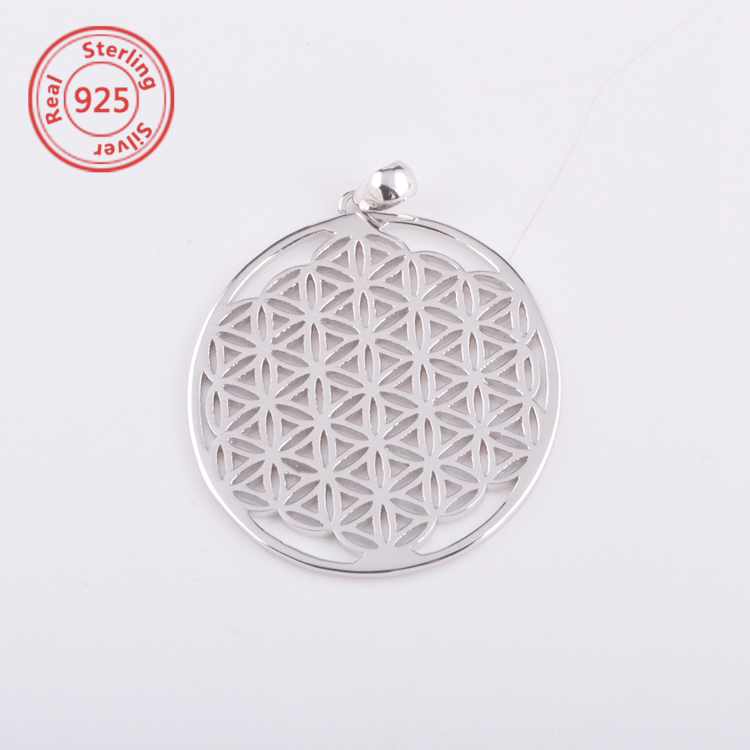 925 Sterling Silver Front and Back Flower of Life Pendant necklace factory price
