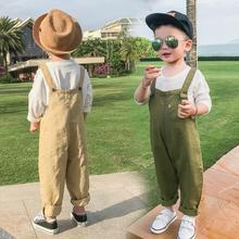 CA1186 kids infant baby boy clothes solid boys bib overalls trousers